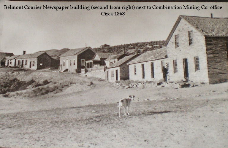 Belmont Courier Newspaper Building (second from the right), next to the Combination Mining Co. office. Circa 1868