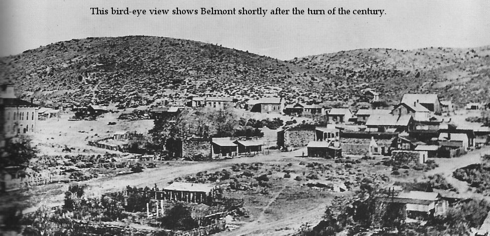 Birds eye view shows Belmont shortly after the turn of the century. Belmont Nevada, 1900s