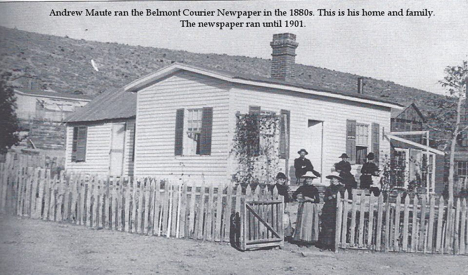 Andrew Maute ran the Belmont Courier Newspaper in the 1880's. This is his home and family. The newspaper ran until 1901.