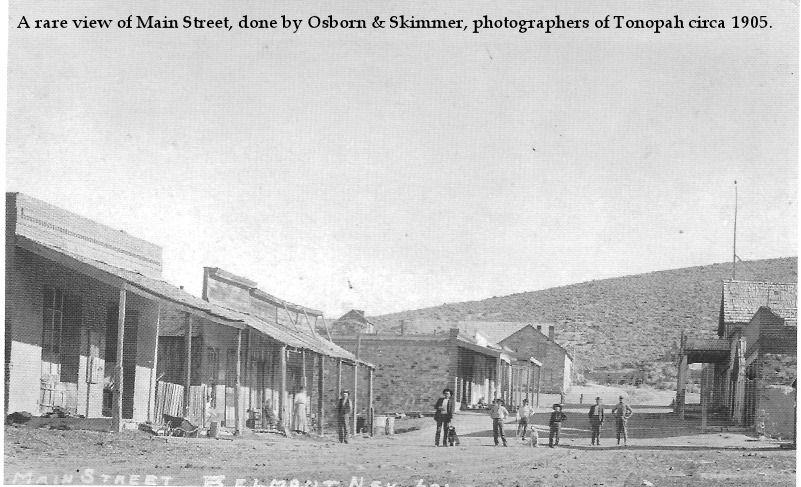 A rare view of Main Street, done by Osborn & Skimmer, photographers of Tonopah circa 1905Belmont Nevada 1905