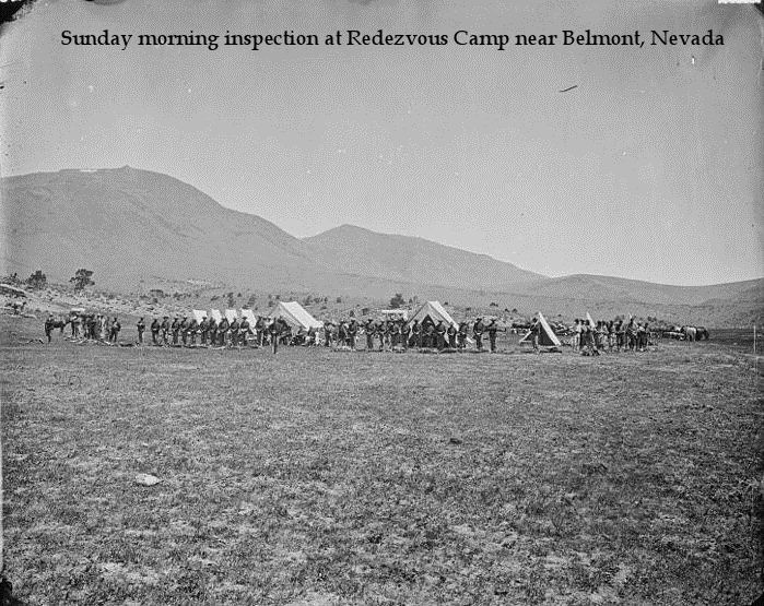 Sunday morning inspection at Redezvous Camp near Belmont Nevada