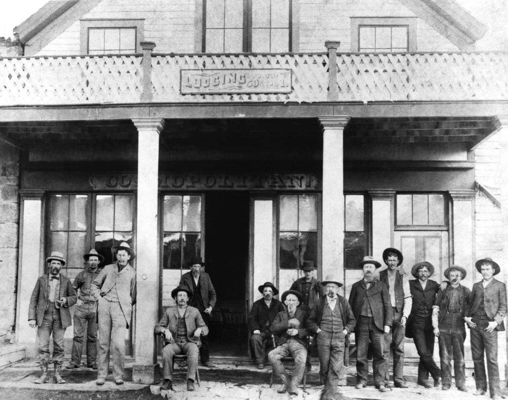 Sheriff Logan (3rd from left), Treasurer Robert Gilbert ( 5th from right) at Cosmopolitan, Belmont, NV courtesy of the Robert Gilbert family c 1902